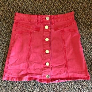 Forever 21 pink button up skirt